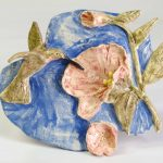 10-inch x 8-inch hand-built, stoneware 3D wall plaque, by Peggy Grigor