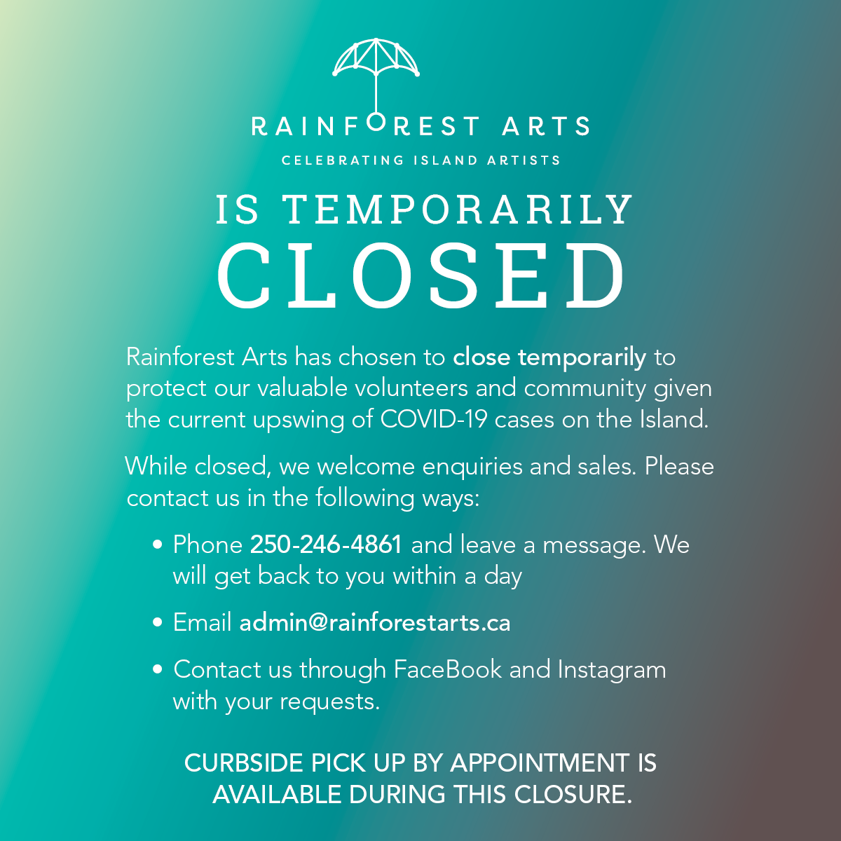 Rainforest Arts temporary closure due to COVID-19