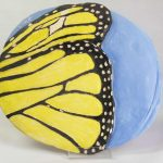 15-inch x 14-inch hand-built, stoneware 3D wall plaque by Peggy Grigor
